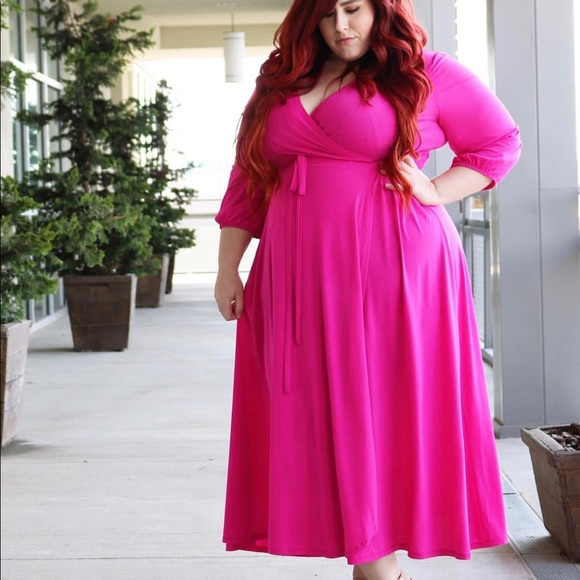 Plus size fuchsia maxi dress